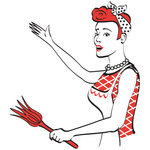 Alty-free-cartoon-clip-art-of-a-happy-red-haired-housewife-or-maid-woman-wearing-an-apron-while-singing-and-dancing-and-using-a-feather-duster-by-andy-nortnik