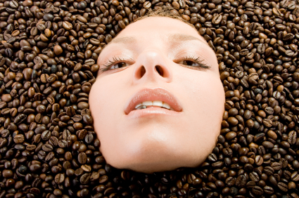 Head in coffee beans