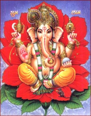 Ganesh-on-Red-Lotus